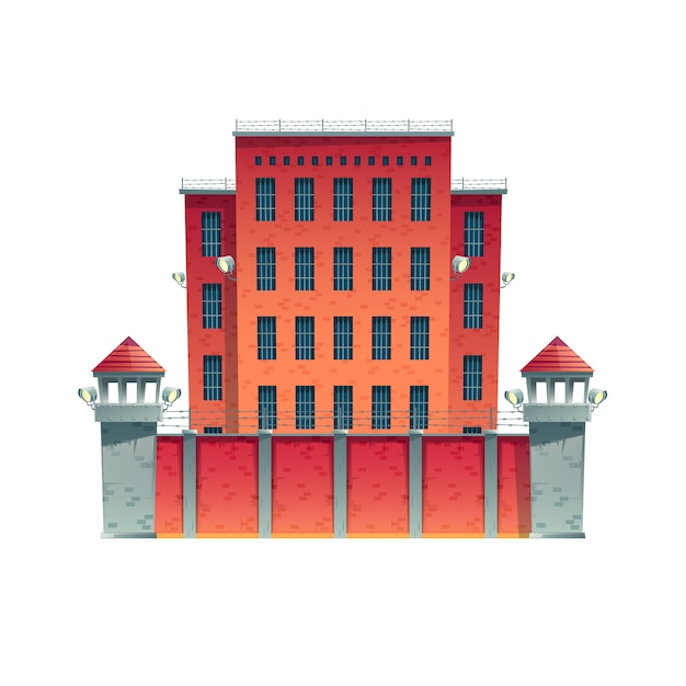 Modern prison, jail building with walls of red brick, bars on windows Free Vector
