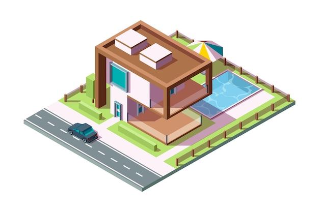モダンな民家。芝生の車のプールベクトル等尺性の家の低ポリ3dと豪華な建物の住宅の外観。ヴィラの外観の家の建物、住宅建築のプライベートイラスト Premiumベクター