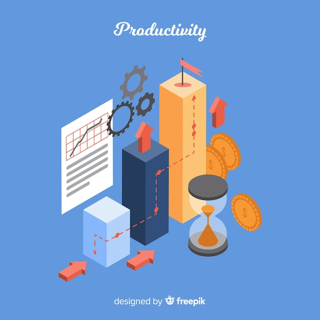 Modern productivity concept with isometric view Free Vector