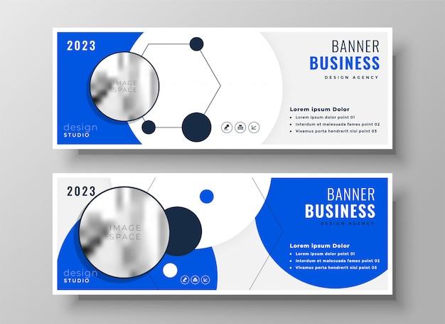Modern professional blue business presentation banner design Free Vector