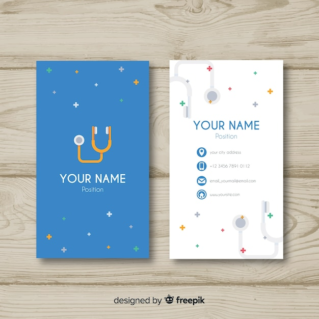 Modern professional business card concept for hospital or doctor Free Vector