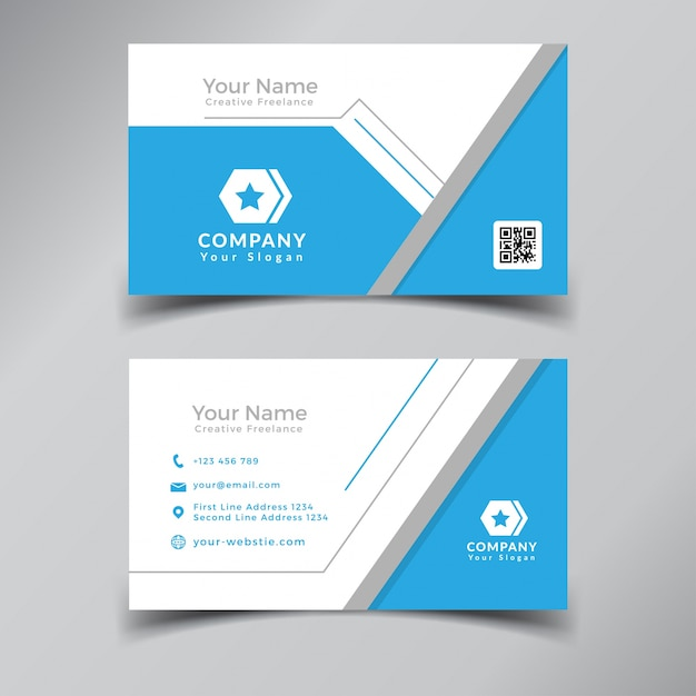 Modern professional business card template design blue and white modern professional business card template design blue and white premium vector cheaphphosting Gallery