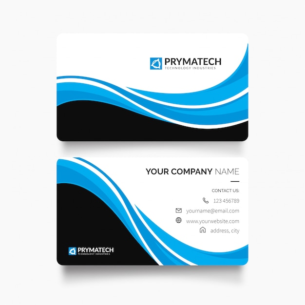 Modern professional business card with abstract shapes Free Vector