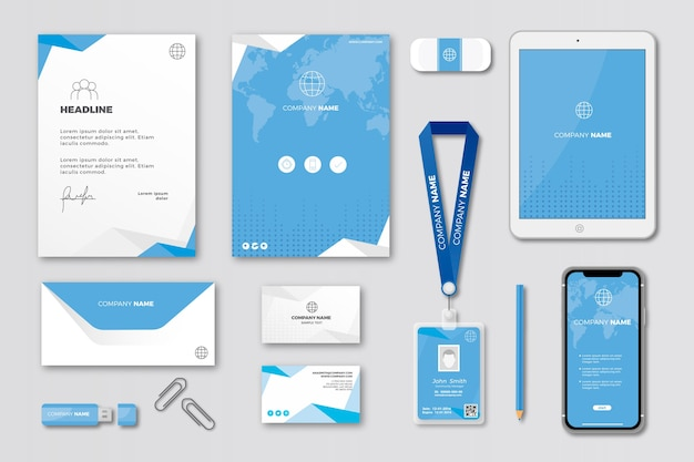 Modern professional business stationery set Free Vector