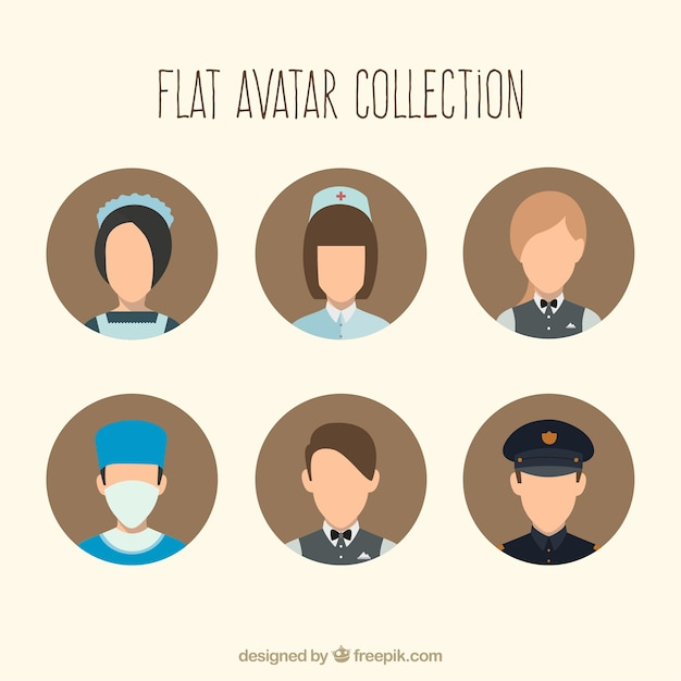 Modern professions avatars collection