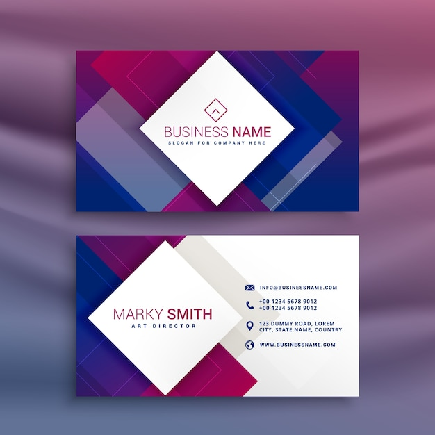 Modern purple business card design for your brand Free Vector