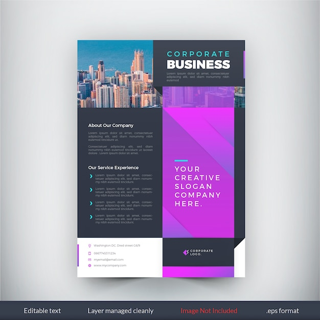 modern purple flyer business template premium vector