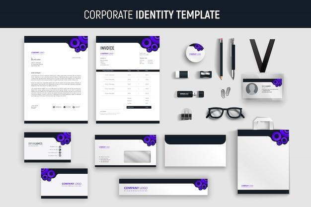 Modern purple профессиональный деловой набор канцелярских товаров Premium векторы