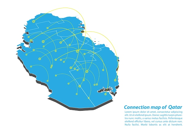 Modern of qatar map connections network design Vector | Premium Download