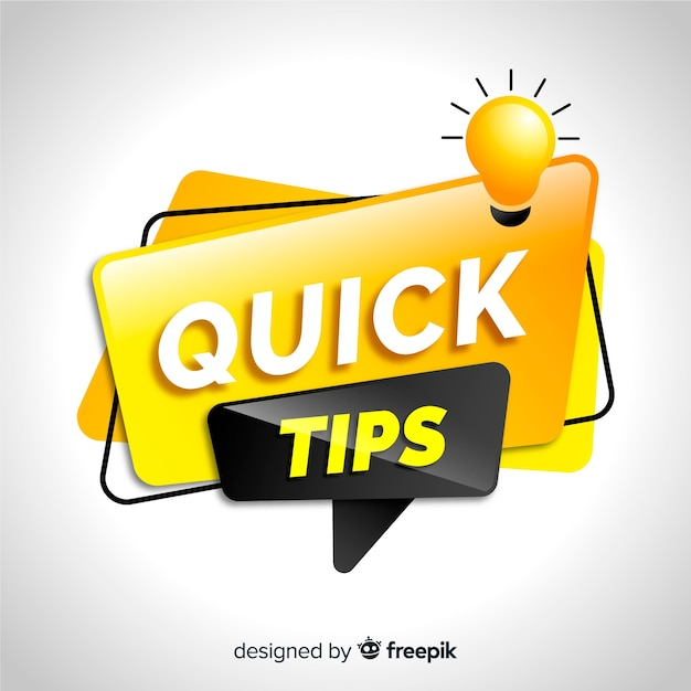 Modern quick tips concept backfround Free Vector
