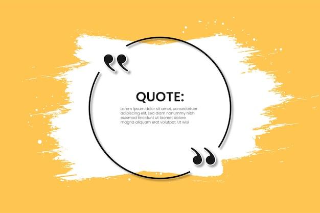 Современная рамка цитаты на желтом с абстрактным белым мазком кисти Бесплатные векторы