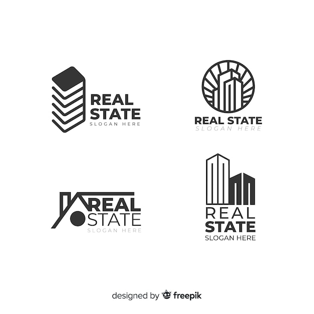 Modern real estate logo collectio Free Vector