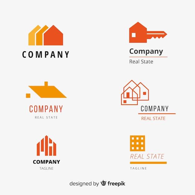 Modern real estate logo collectio Free Vector