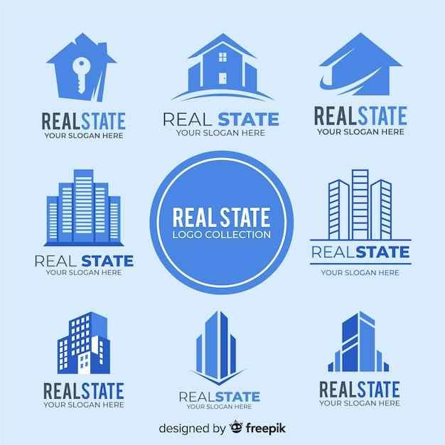 Modern real estate logo collection Free Vector