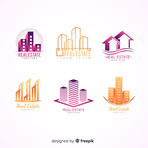 Modern real estate logo collection Free Vector