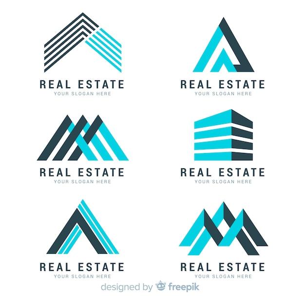 Современная коллекция логотипа недвижимости Бесплатные векторы