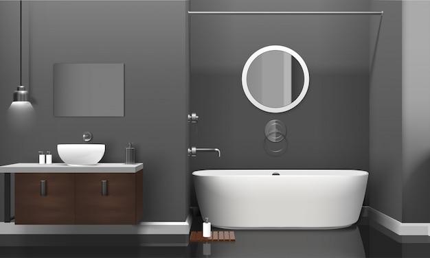 Modern realistic bathroom interior design Free Vector