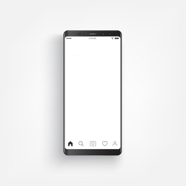 Modern realistic black smartphone. Premium Vector