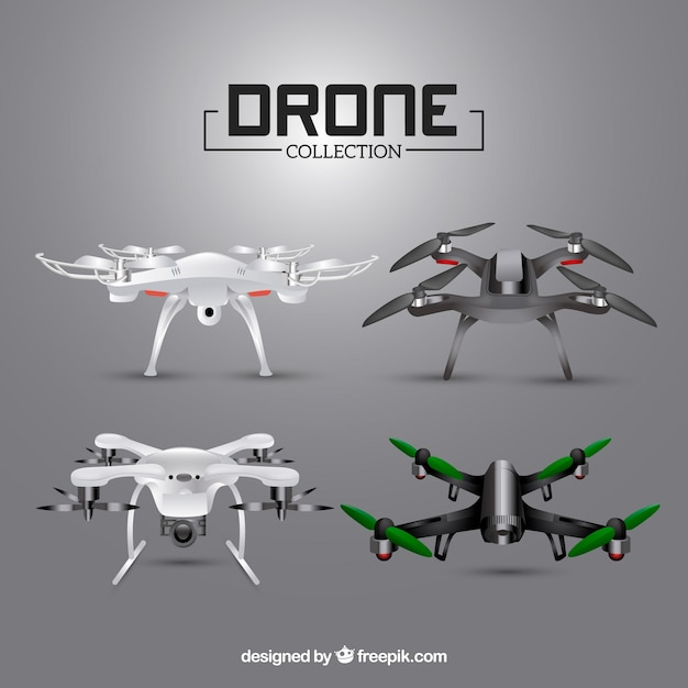 Modern realistic drone collection