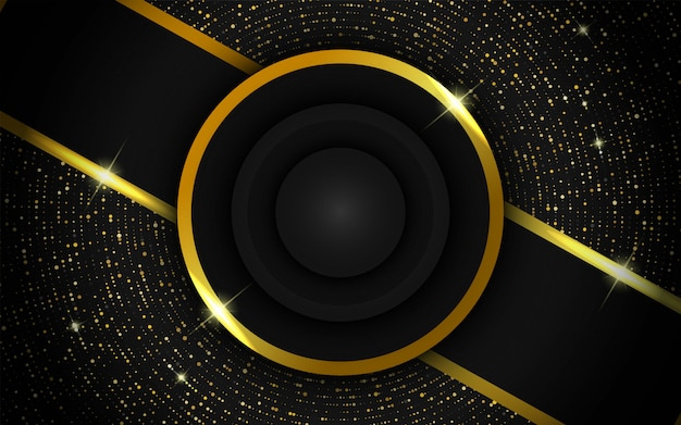 Modern realistic gold background with blue dots Premium Vector