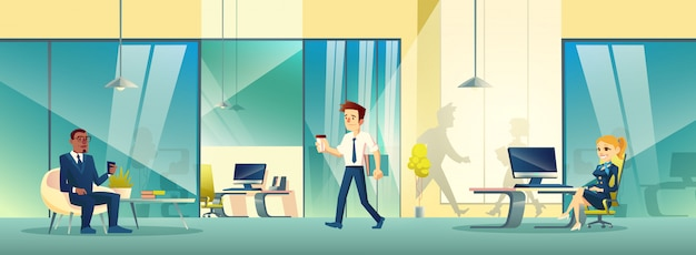 Modern reception area interior in business office. Free Vector