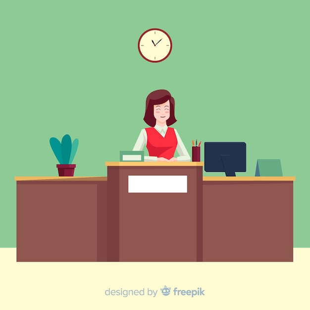 Modern reception composition with flat design Free Vector