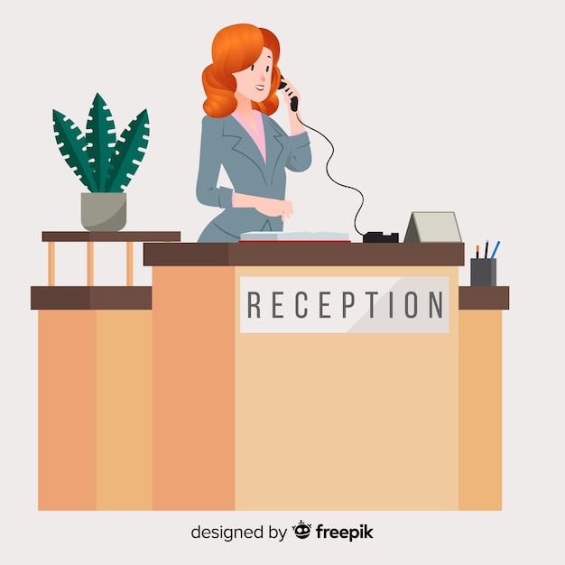 Modern reception concept with flat design Free Vector