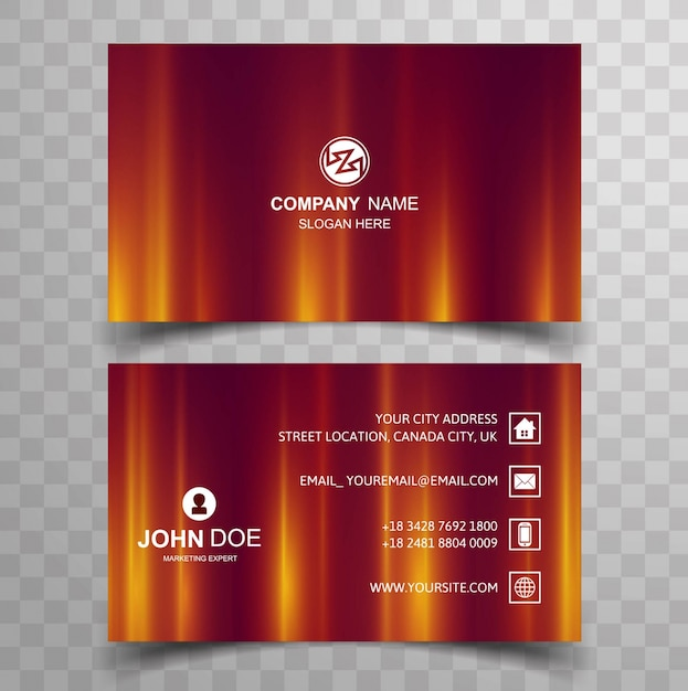 Modern red and yellow business card