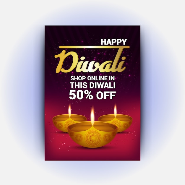 modern red and yellow diwali flyer vector premium download