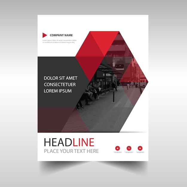 modern red annual report book cover template vector