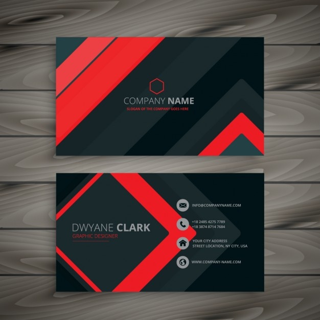 Modern Red And Black Business Card Vector Free Download