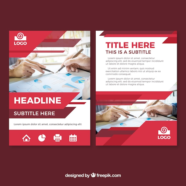 Modern red business brochure template Free Vector