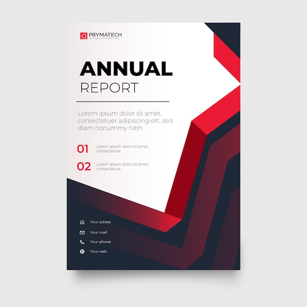 Modern red business brochure with abstract shapes Free Vector