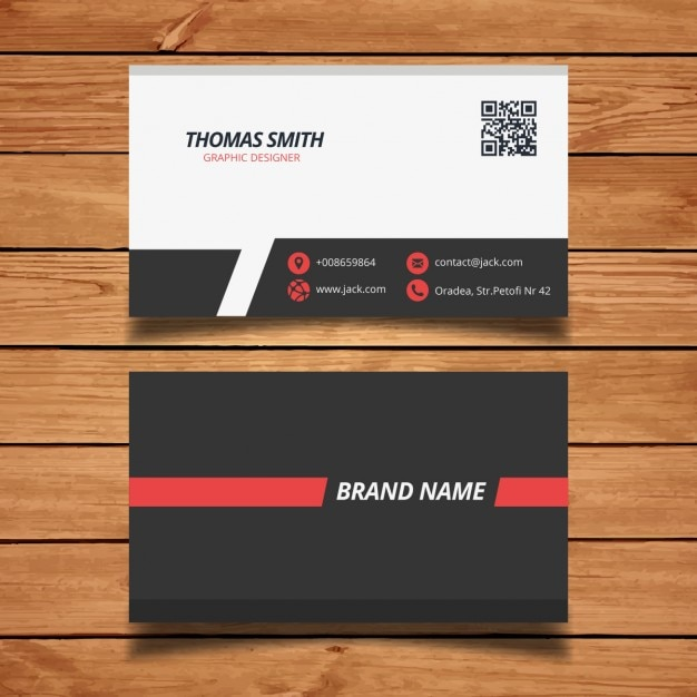 Modern red business card template vector free download for Red business card template