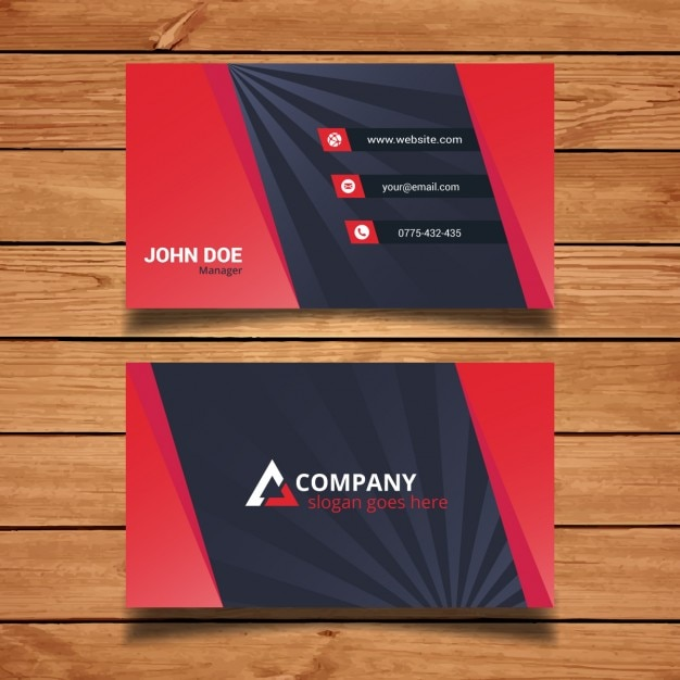 Modern Red Business Card Template Vector Free Download