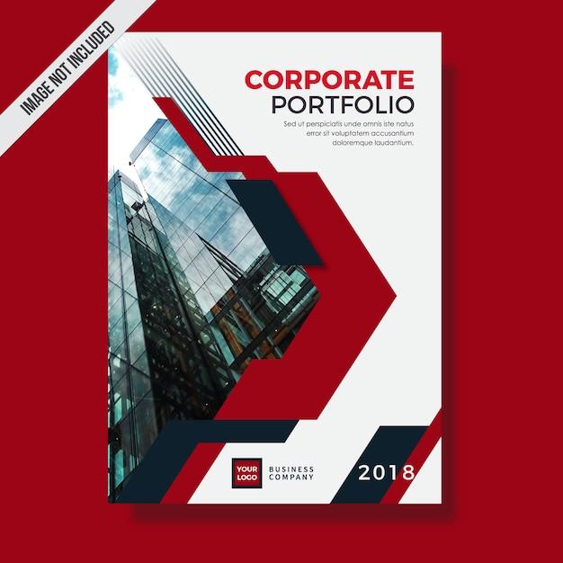 Modern red corporate portfolio template design Premium Vector