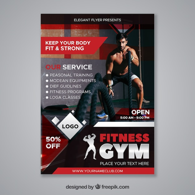 Modern Red Gym Flyer Template With Image Vector Free Download