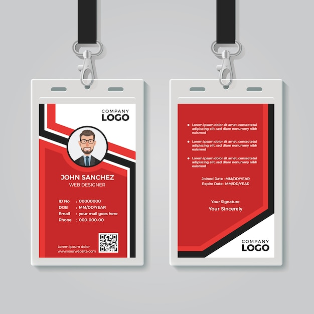 Modern red id card template Premium Vector