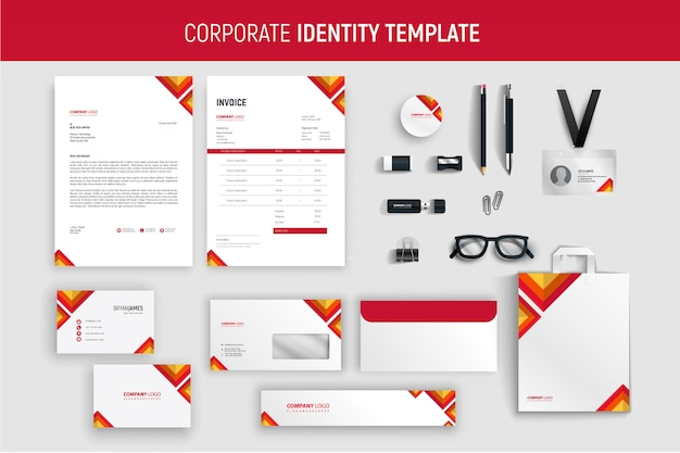 Modern red professional business stationery set Premium Vector