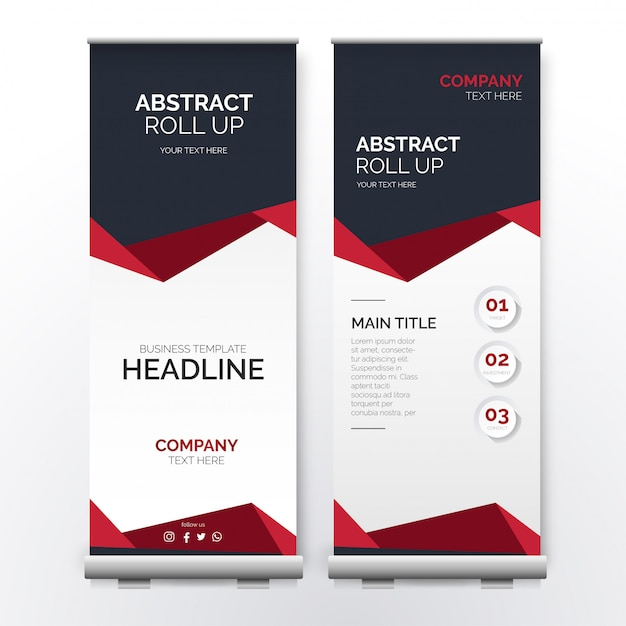Modern red roll up with abstract shapes Free Vector