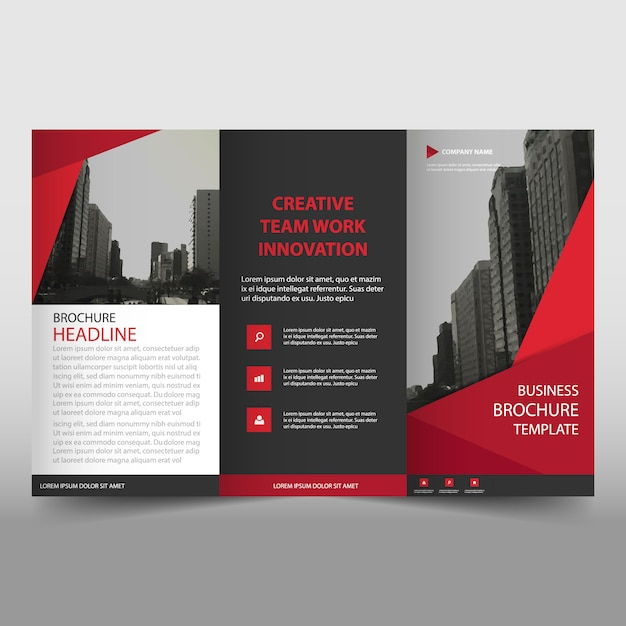 Modern red trifold business brochure template