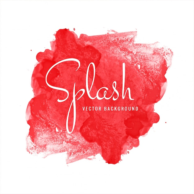 Modern red watercolor splash background Free Vector