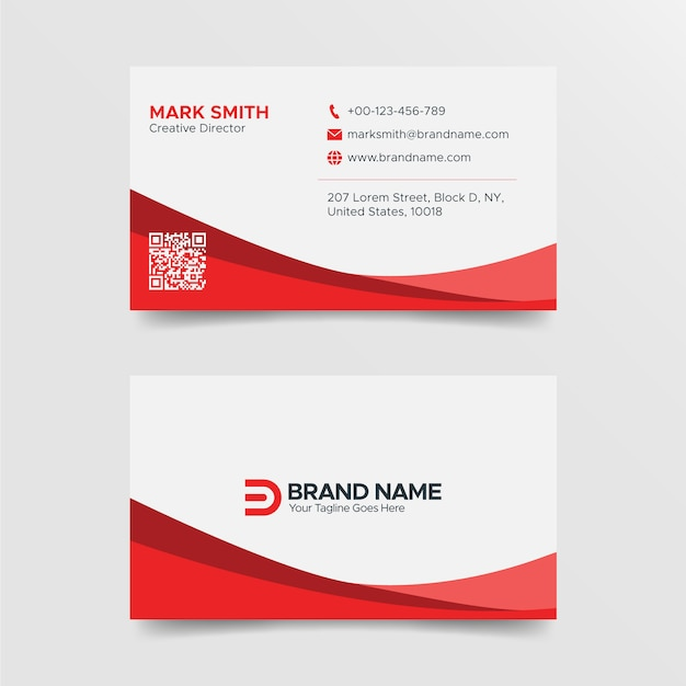 Modern red and white business card design template Premium Vector