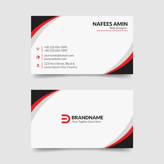 Modern red and white business cards template Premium Vector