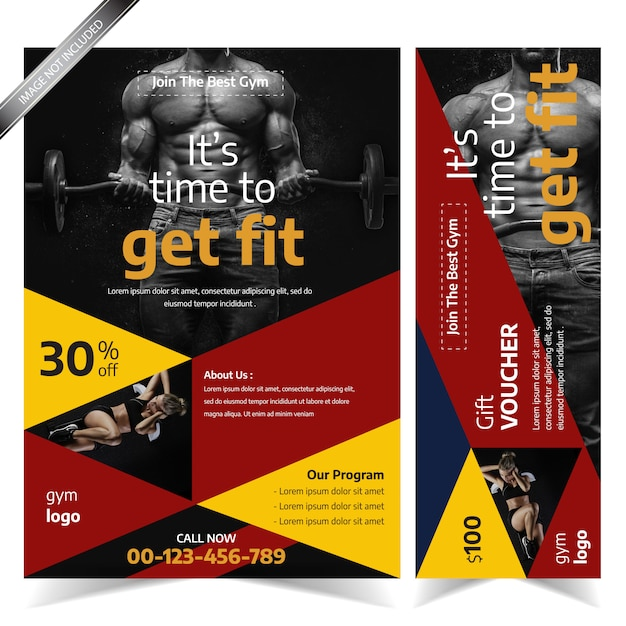 Modern Red And Yellow Gym Flyer Template Premium Vector