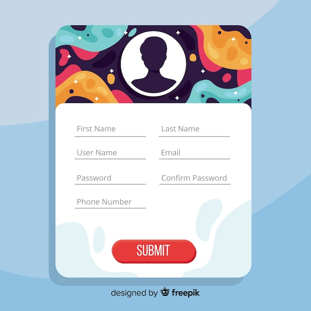 Modern registration form template with flat design Free Vector