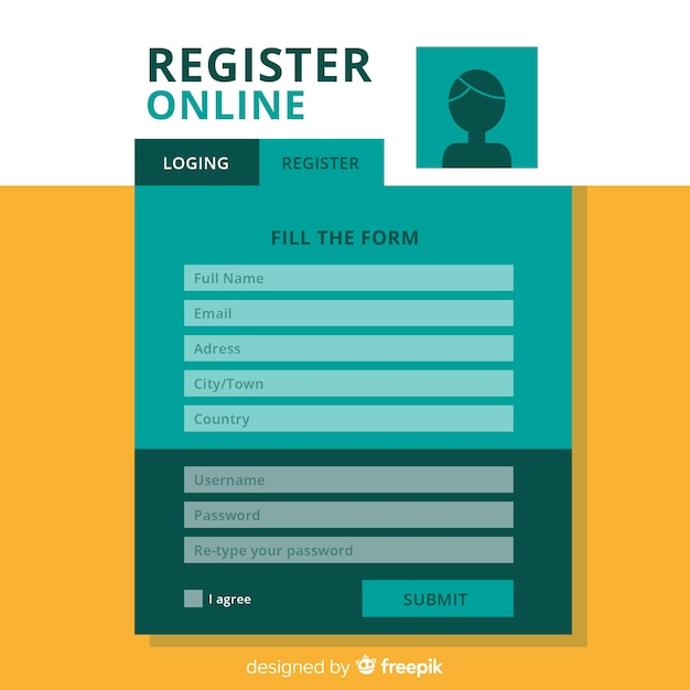 Modern registration form template with flat design Premium Vector