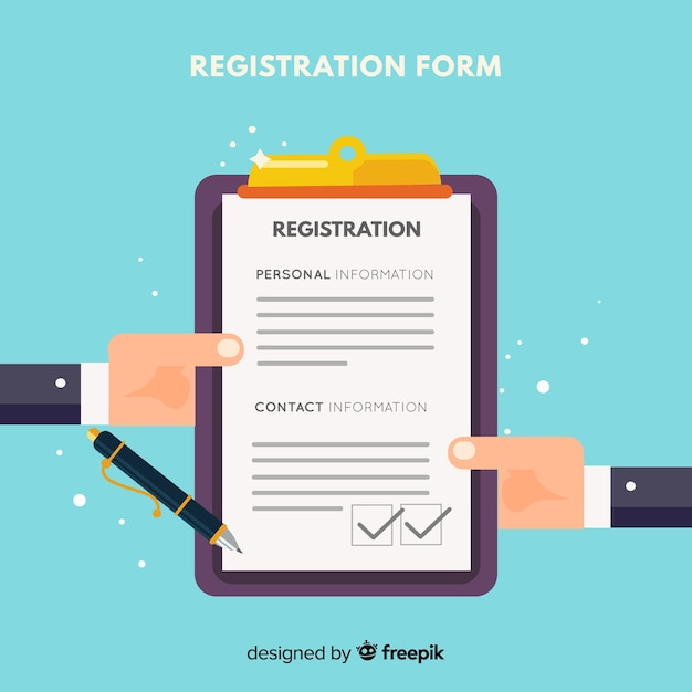 Modern registration form with flat design Free Vector