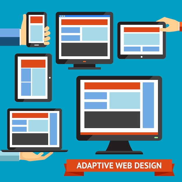 Modern responsive and adaptive web design and mobile apps Free Vector