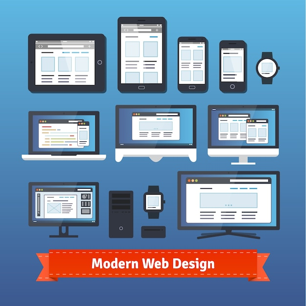 Modern responsive web design on all mobile devices Free Vector